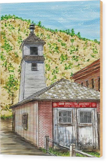 Idaho Springs Firehouse Wood Print