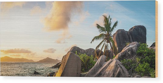 Idyllic Tropical Island Sunset Over Wood Print by Fotovoyager
