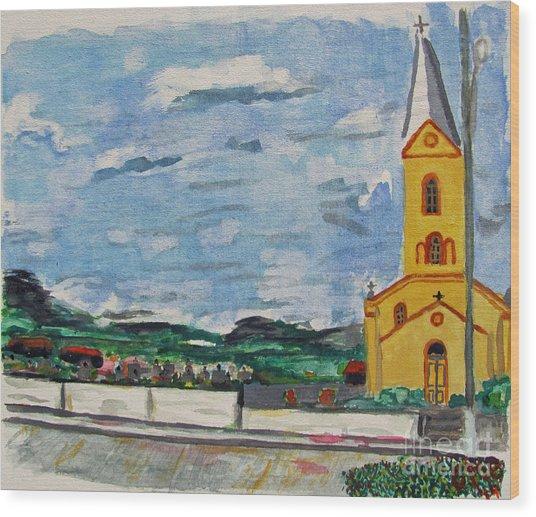 Igreja Do Cerro Branco Wood Print by Greg Mason Burns