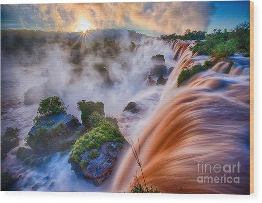 Iguazu Sunrise Wood Print