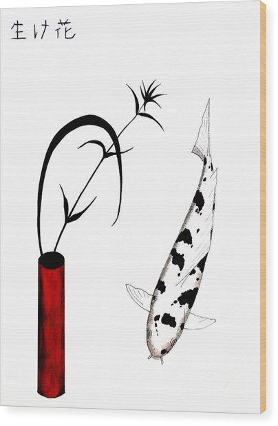 Ikebana Utsuri Mono Wood Print by Gordon Lavender
