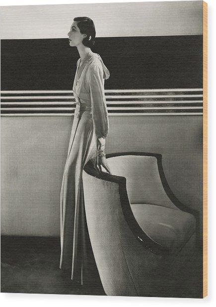 Ilka Chase Wearing Black Starr And Frost-gorham Wood Print by Edward Steichen