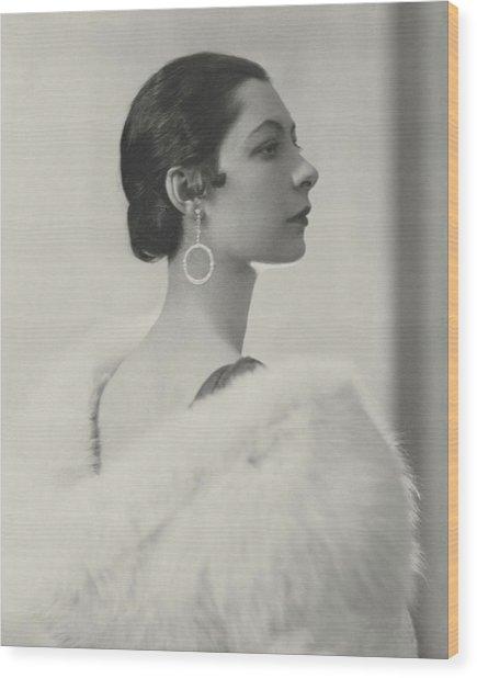 Ilka Chase Wearing Diamond Earrings Wood Print
