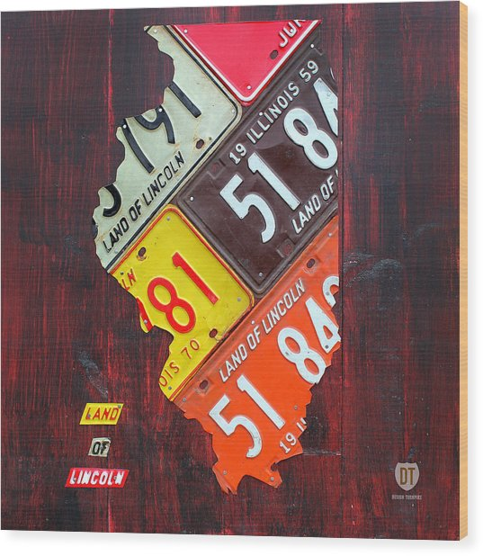 Illinois License Plate Map Wood Print
