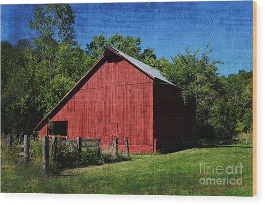 Illinois Red Barn 2 Wood Print