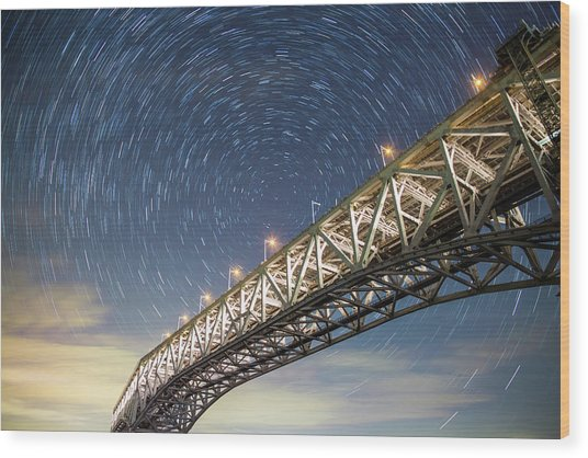 Illuminated Bridge Wood Print