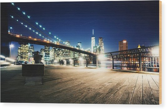 Illuminated Brooklyn Bridge By City Wood Print by Arnaud Mallen / Eyeem
