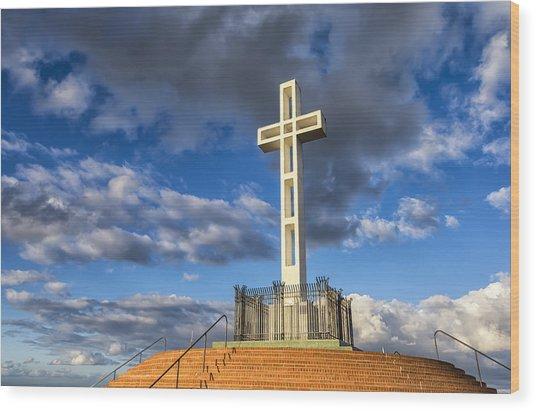 Illuminated Cross Wood Print