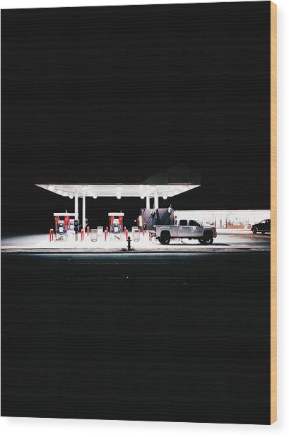Illuminated Gas Station With Car At Wood Print by Constantin Renner / Eyeem
