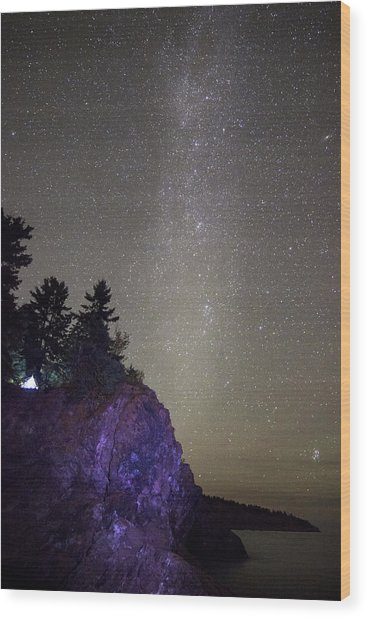 Illuminated Tent // North Shore, Lake Superior Wood Print
