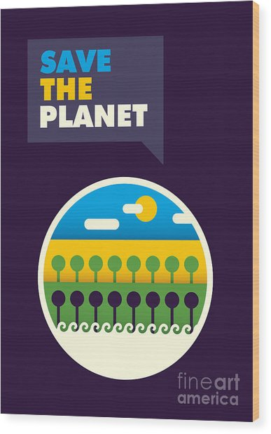 Illustrated Ecology Poster In Color Wood Print