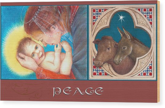 Illustrated Madonna And Child  Wood Print