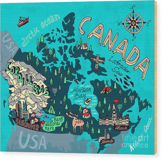 Illustrated Map Of Canada. Travel Wood Print by Daria i