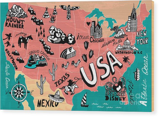 Illustrated Map Of Usa Wood Print by Daria i