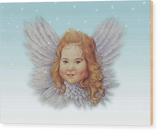 Illustrated Twinkling Angel Wood Print