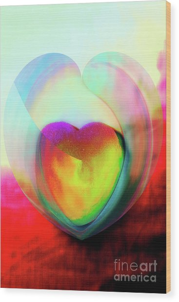 Illustration My Crazy Abstract Heart Wood Print