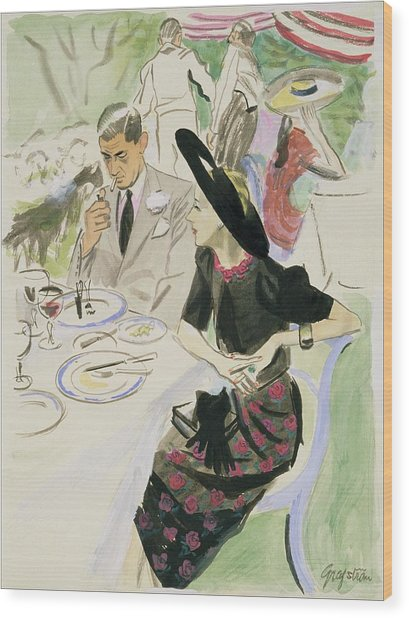 Illustration Of A Couple Dining Outdoors Wood Print by R.S. Grafstrom