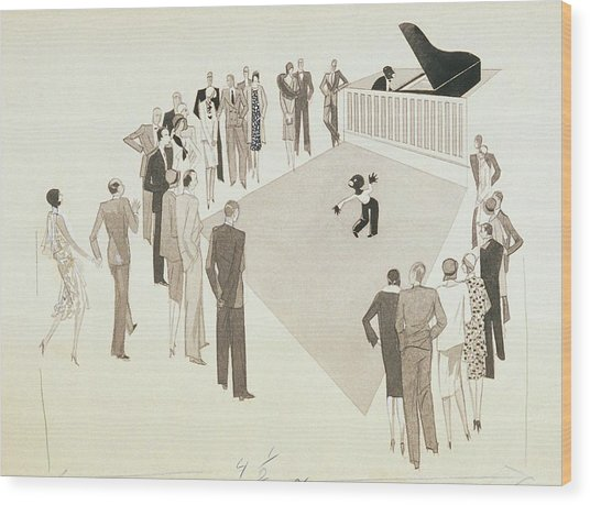 Illustration Of A Crowd Gathering To Watch Tap Wood Print