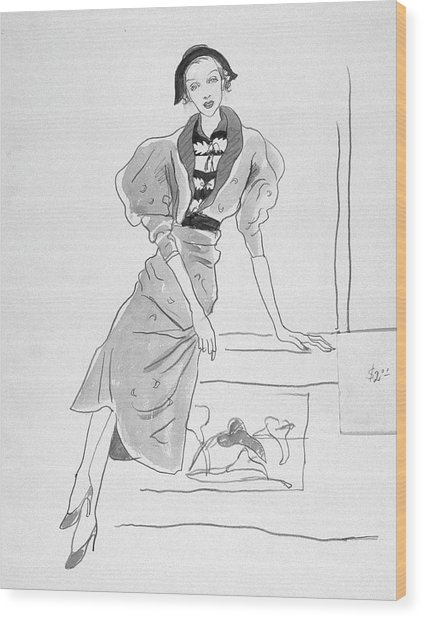 Illustration Of A Fashionable Woman Wood Print by Cecil Beaton