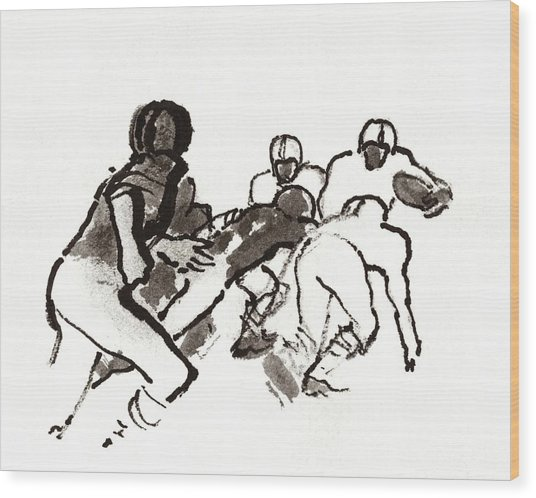 Illustration Of A Group Of Football Players Wood Print by Carl Oscar August Erickson