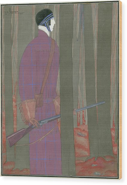 Illustration Of A Hunter In A Forest Wood Print by Georges Lepape