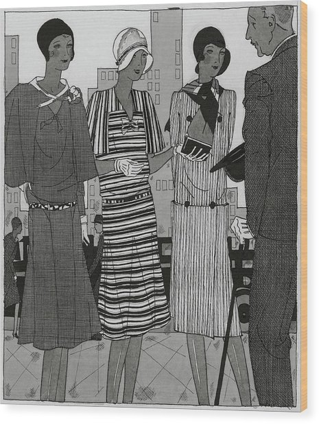 Illustration Of A Man And Three Fashionable Women Wood Print by Jean Pages