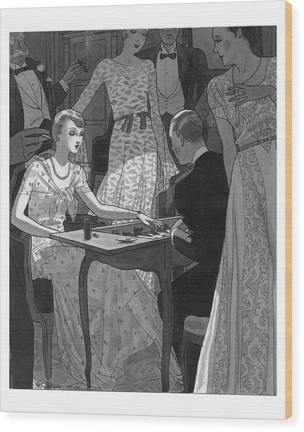 Illustration Of A Woman And Man Playing Backgammon Wood Print by Pierre Mourgue