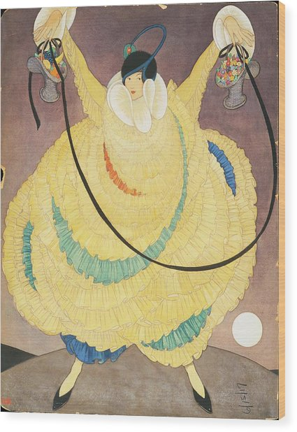 Illustration Of A Woman In A Large Yellow Gown Wood Print