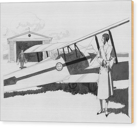 Illustration Of A Woman Standing Next To A Biplane Wood Print