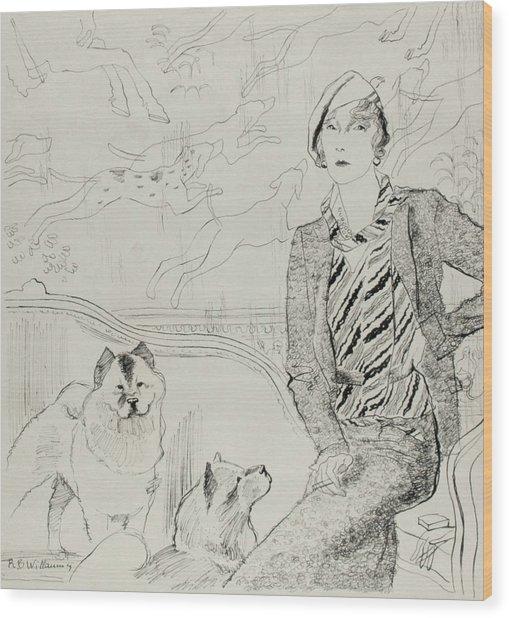 Illustration Of Baronne Eugene De Rothschild Wood Print by Rene Bouet-Willaumez