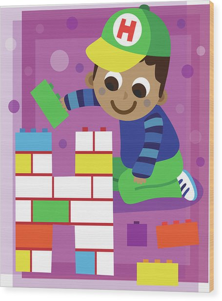 Illustration Of Boy Making Letter H With Blocks Wood Print by Fanatic Studio / Science Photo Library