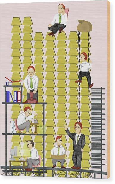Illustration Of Businesspeople Working Together For Growth Wood Print