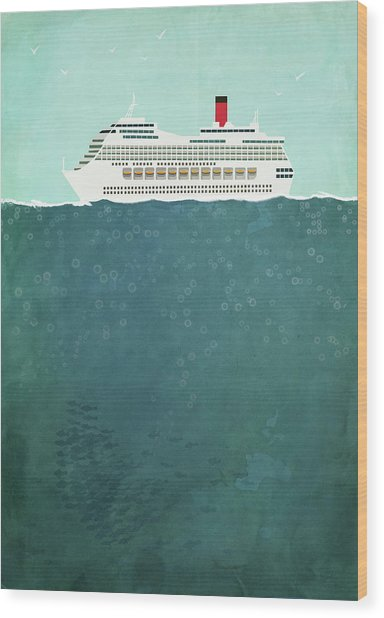 Illustration Of Cruise Ship Sailing On Wood Print by Malte Mueller