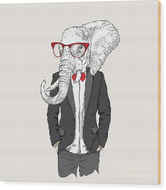 Illustration Of Elephant Hipster Wood Print