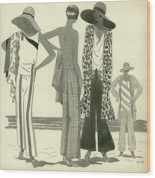 Illustration Of Four Women At A Beach Wood Print by Harriet Meserole