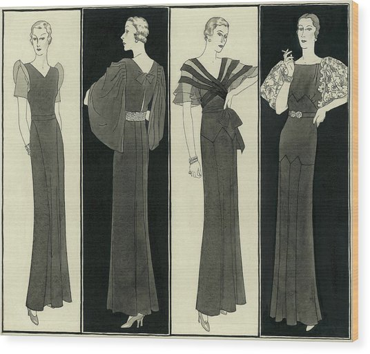 Illustration Of Four Women In Evening Dresses Wood Print by Polly Tigue Francis