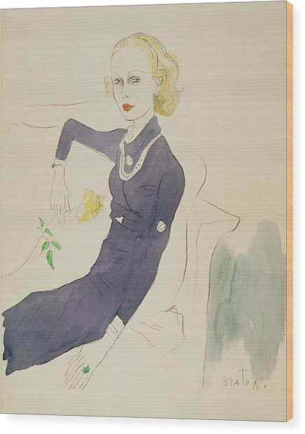Illustration of Lady Abdy sitting on a sofa by Cecil Beaton. Image via Fine Art America.