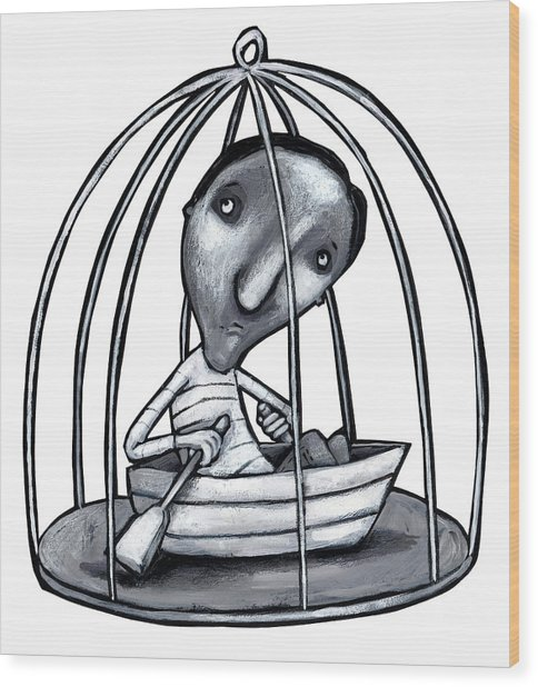 Illustration Of Man With Boat In Cage Wood Print by Fanatic Studio / Science Photo Library