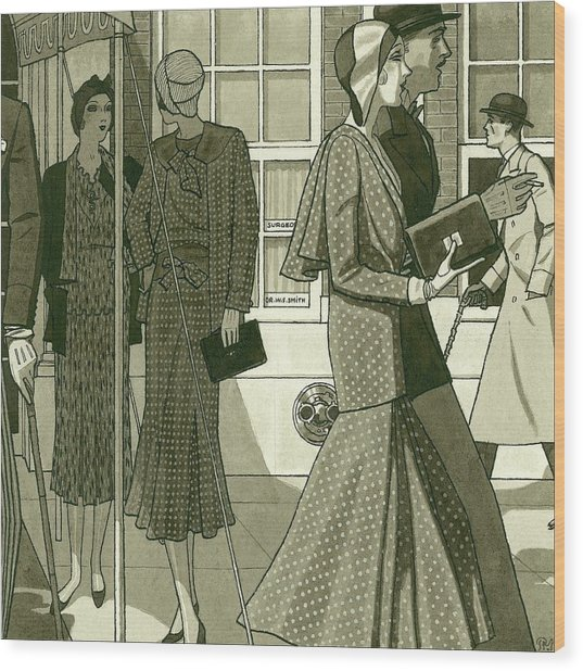 Illustration Of Men And Women Exiting Building Wood Print
