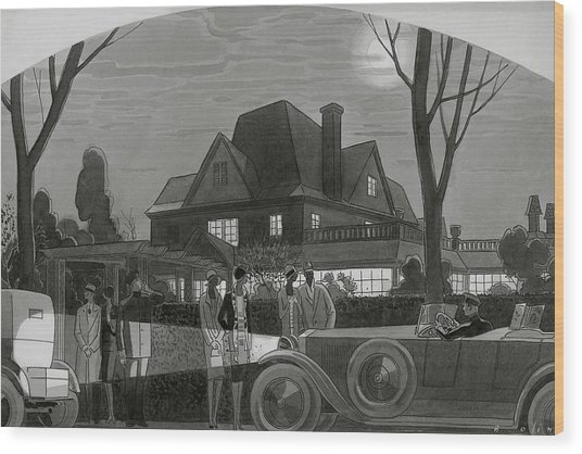 Illustration Of Men And Women Outside Of A Large Wood Print by William Bolin