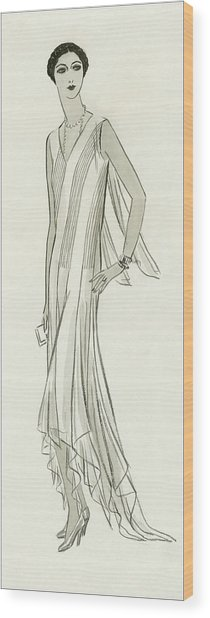 Illustration Of Mlle. Patino Wearing A Dress Wood Print by Creelman