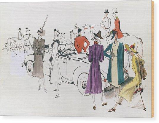 Illustration Of Models And Equestrian Hunters Wood Print
