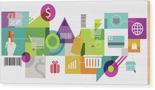 Illustration Of Online Shopping Wood Print