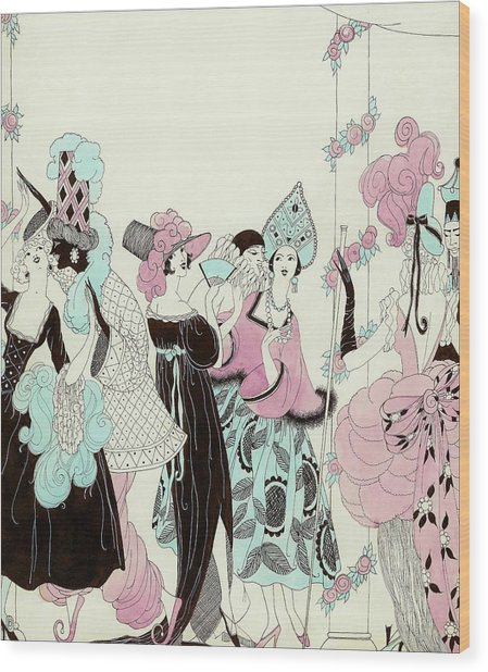 Illustration Of People At A Costume Party Wood Print by Helen Dryden