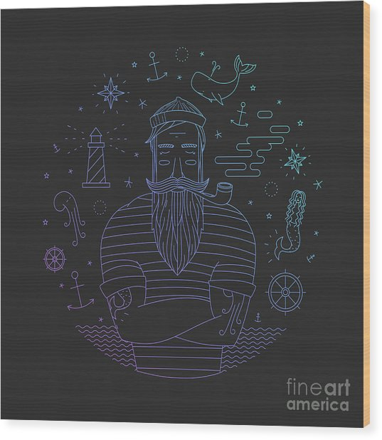 Illustration Of Sailor With Pipe Dreams Wood Print