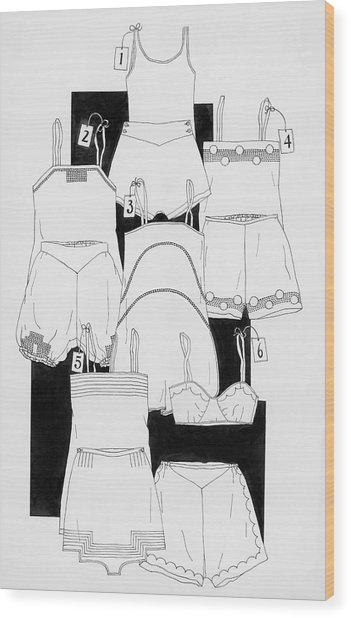 Illustration Of Sleepwear Wood Print