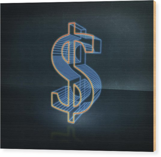 Illustration Of Three Dimensional Dollar Sign Wood Print