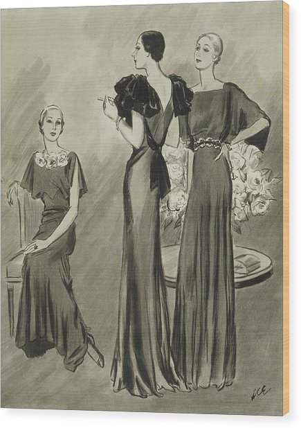 Illustration Of Three Models In Evening Gowns Wood Print by Creelman