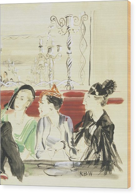 Illustration Of Three Women Wearing Designer Hats Wood Print by Rene Bouet-Willaumez