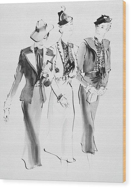 Illustration Of Three Women Wearing Skirt Suit Wood Print